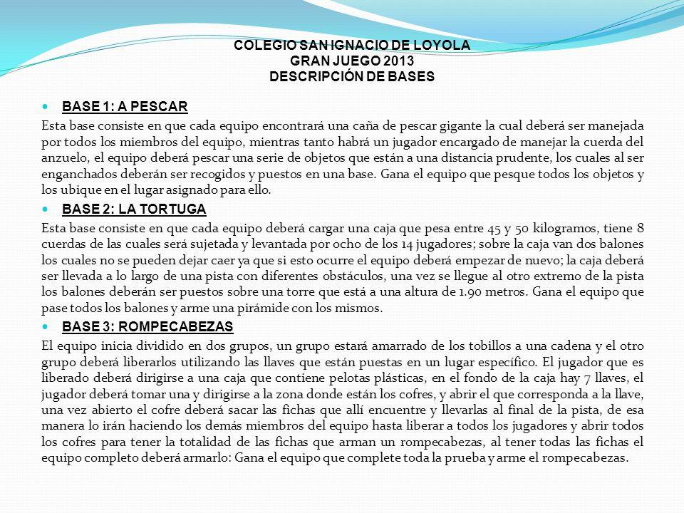 COLEGIO SAN IGNACIO DE LOYOLA GRAN JUEGO 2013 DESCRIPCIÓN DE BASES BASE 1: A PESCAR Esta base consiste en que cada equipo encontrará una caña de pesca