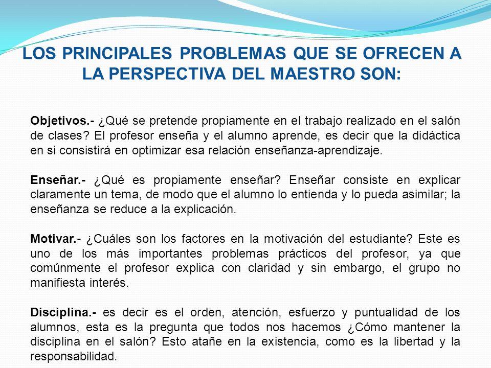 LOS PRINCIPALES PROBLEMAS QUE SE OFRECEN A LA PERSPECTIVA DEL MAESTRO SON: Objetivos.- ¿Qué se pretende propiamente en el trabajo realizado en el saló