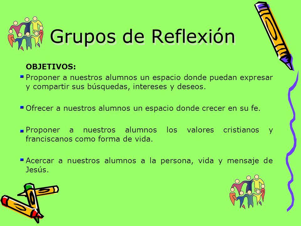 Grupos de Reflexión OBJETIVOS: Proponer a nuestros alumnos un espacio donde puedan expresar y compartir sus búsquedas, intereses y deseos. Ofrecer a n