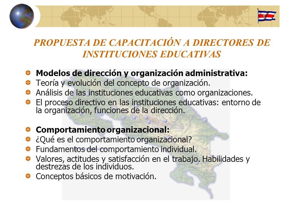 PROPUESTA DE CAPACITACIÓN A DIRECTORES DE INSTITUCIONES EDUCATIVAS Modelos de dirección y organización administrativa: Teoría y evolución del concepto