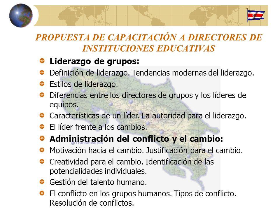 PROPUESTA DE CAPACITACIÓN A DIRECTORES DE INSTITUCIONES EDUCATIVAS Liderazgo de grupos: Definición de liderazgo. Tendencias modernas del liderazgo. Es