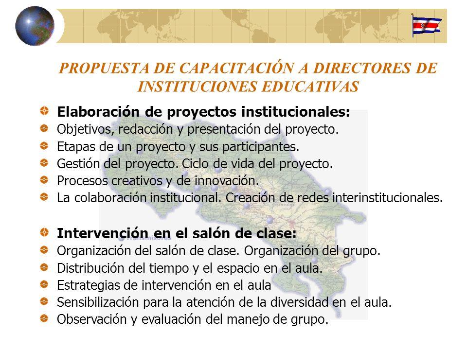 PROPUESTA DE CAPACITACIÓN A DIRECTORES DE INSTITUCIONES EDUCATIVAS Elaboración de proyectos institucionales: Objetivos, redacción y presentación del p