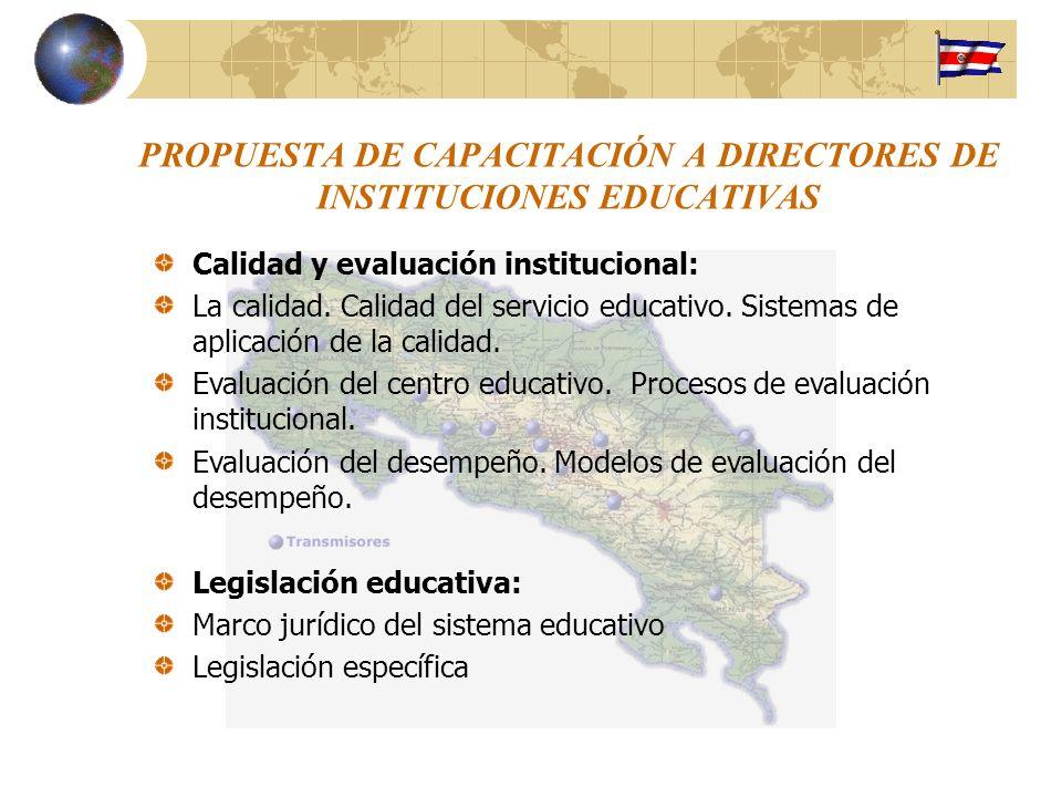 PROPUESTA DE CAPACITACIÓN A DIRECTORES DE INSTITUCIONES EDUCATIVAS Calidad y evaluación institucional: La calidad. Calidad del servicio educativo. Sis