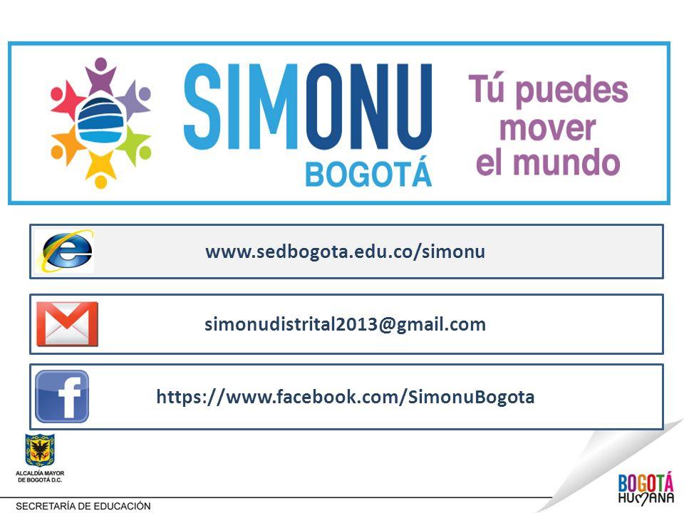 www.sedbogota.edu.co/simonu https://www.facebook.com/SimonuBogota simonudistrital2013@gmail.com