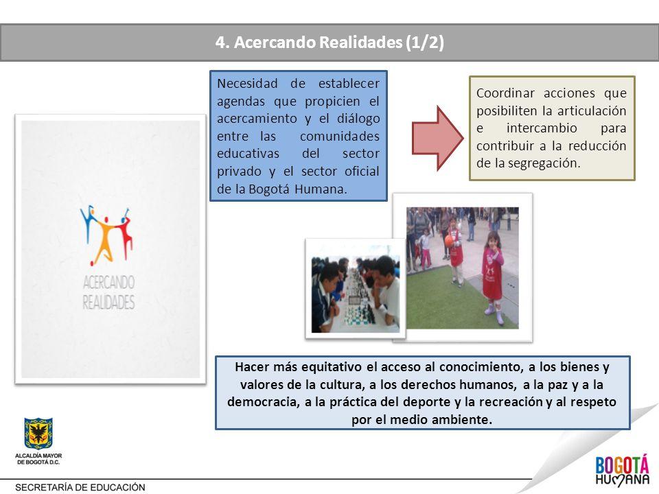 4. Acercando Realidades (1/2) Necesidad de establecer agendas que propicien el acercamiento y el diálogo entre las comunidades educativas del sector p
