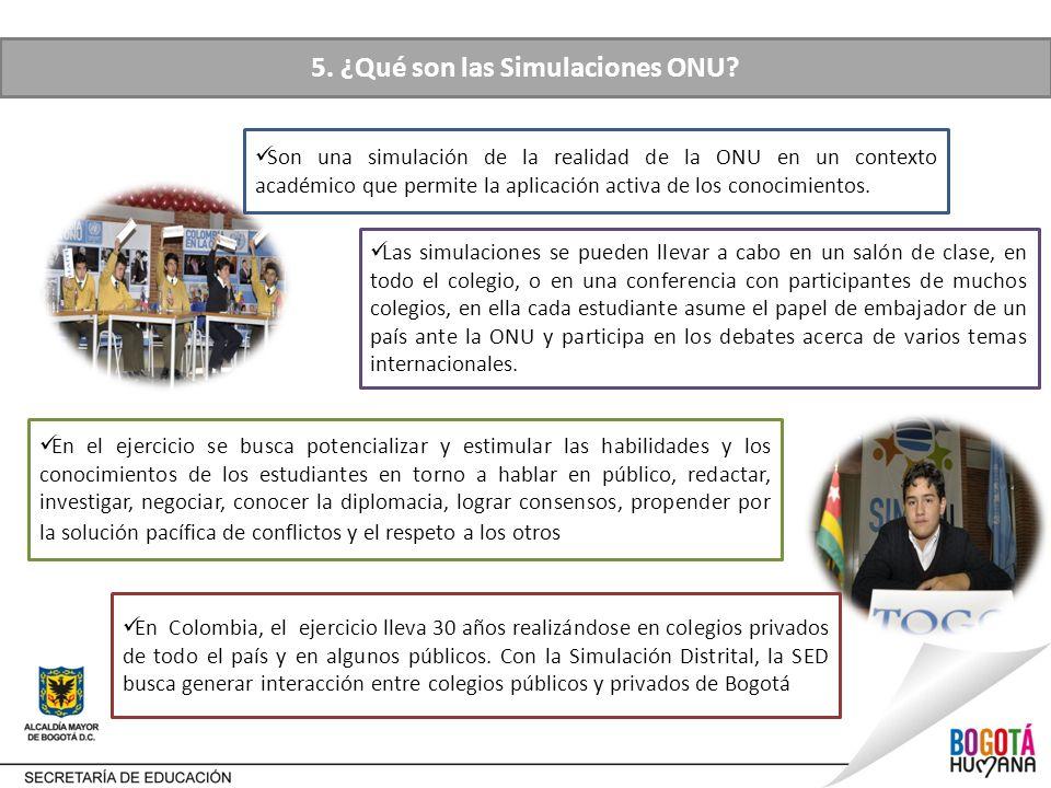Las simulaciones se pueden llevar a cabo en un salón de clase, en todo el colegio, o en una conferencia con participantes de muchos colegios, en ella cada estudiante asume el papel de embajador de un país ante la ONU y participa en los debates acerca de varios temas internacionales.