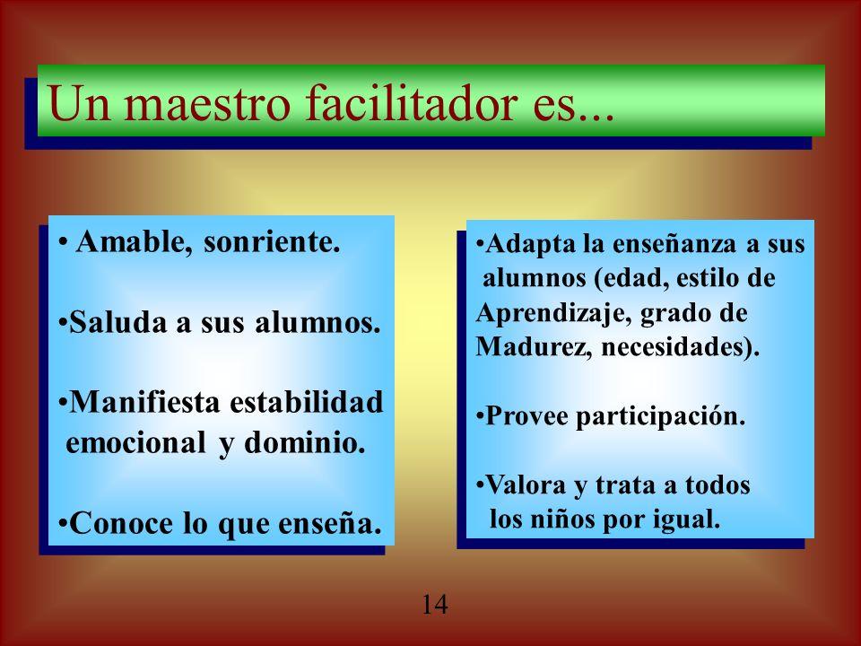 Un maestro facilitador es... Un maestro facilitador es... Amable, sonriente. Saluda a sus alumnos. Manifiesta estabilidad emocional y dominio. Conoce