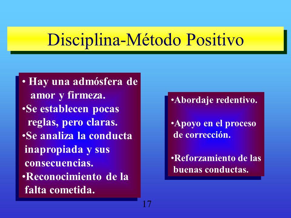 Disciplina-Método Positivo Disciplina-Método Positivo Hay una admósfera de amor y firmeza. Se establecen pocas reglas, pero claras. Se analiza la cond