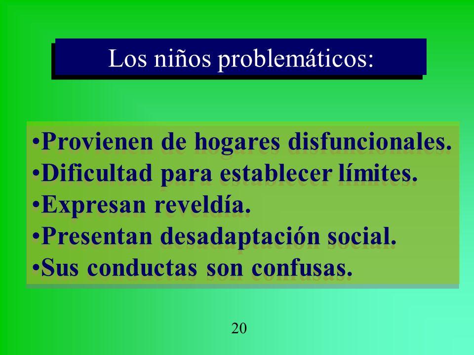 Los niños problemáticos: Los niños problemáticos: Provienen de hogares disfuncionales. Dificultad para establecer límites. Expresan reveldía. Presenta