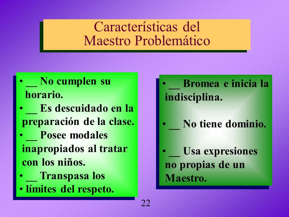 Características del Maestro Problemático Características del Maestro Problemático __ No cumplen su horario. __ Es descuidado en la preparación de la c