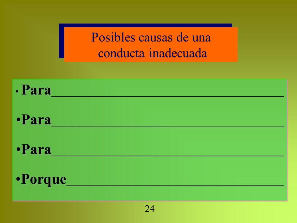 Posibles causas de una conducta inadecuada Posibles causas de una conducta inadecuada Para _______________________________________________ Porque ____