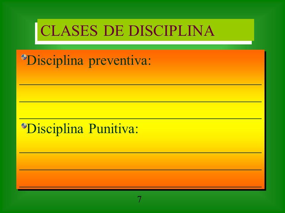 CLASES DE DISCIPLINA Disciplina preventiva: __________________________________ Disciplina Punitiva: __________________________________ Disciplina prev