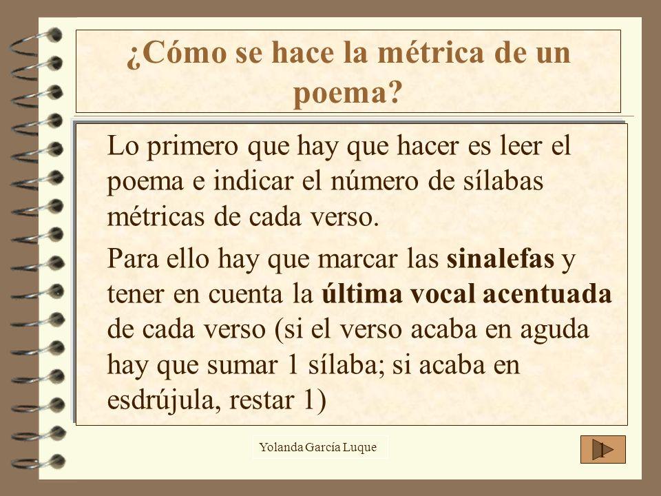 Lo primero que hay que hacer es leer el poema e indicar el número de sílabas métricas de cada verso. Para ello hay que marcar las sinalefas y tener en