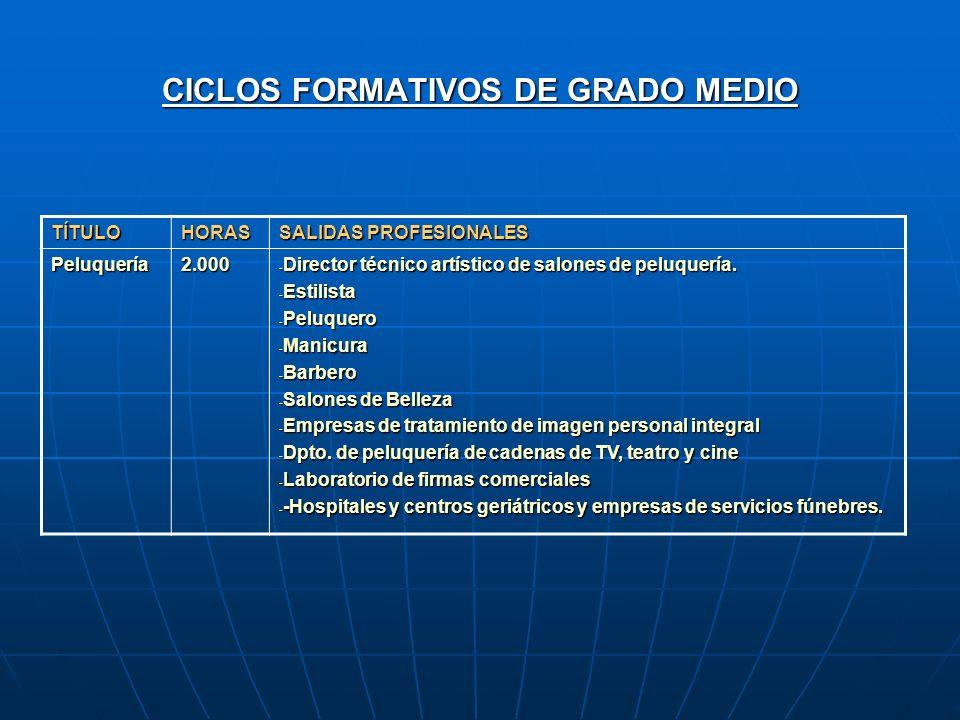 CICLOS FORMATIVOS DE GRADO MEDIO TÍTULOHORAS SALIDAS PROFESIONALES Peluquería2.000 - Director técnico artístico de salones de peluquería. - Estilista