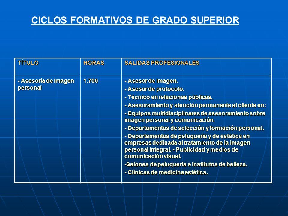 TÍTULOHORAS SALIDAS PROFESIONALES - Asesoría de imagen personal 1.700 - Asesor de imagen. - Asesor de protocolo. - Técnico en relaciones públicas. - A