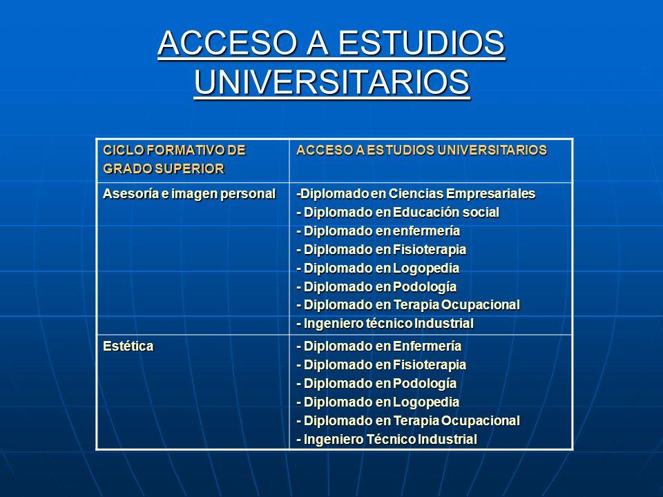 ACCESO A ESTUDIOS UNIVERSITARIOS CICLO FORMATIVO DE GRADO SUPERIOR ACCESO A ESTUDIOS UNIVERSITARIOS Asesoría e imagen personal -Diplomado en Ciencias