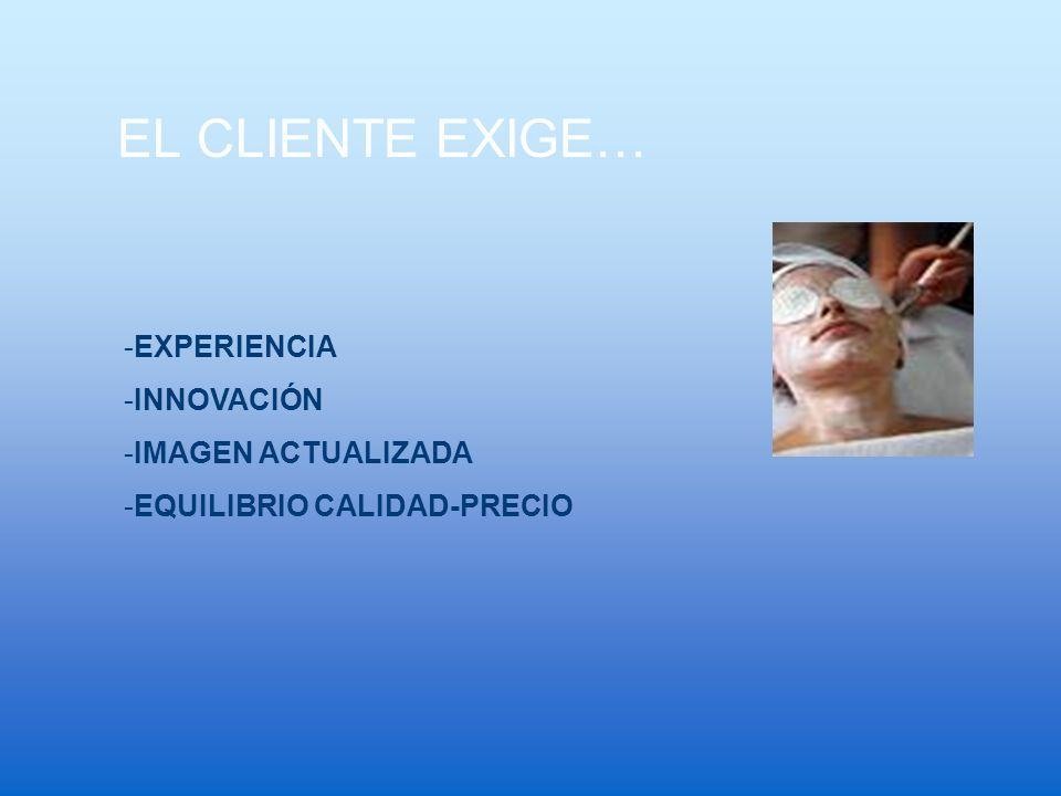 EL CLIENTE EXIGE… -EXPERIENCIA -INNOVACIÓN -IMAGEN ACTUALIZADA -EQUILIBRIO CALIDAD-PRECIO