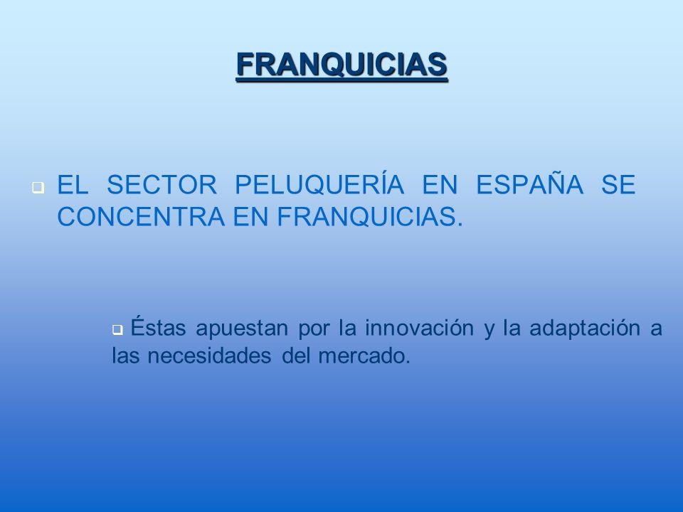 FRANQUICIAS EL SECTOR PELUQUERÍA EN ESPAÑA SE CONCENTRA EN FRANQUICIAS. Éstas apuestan por la innovación y la adaptación a las necesidades del mercado