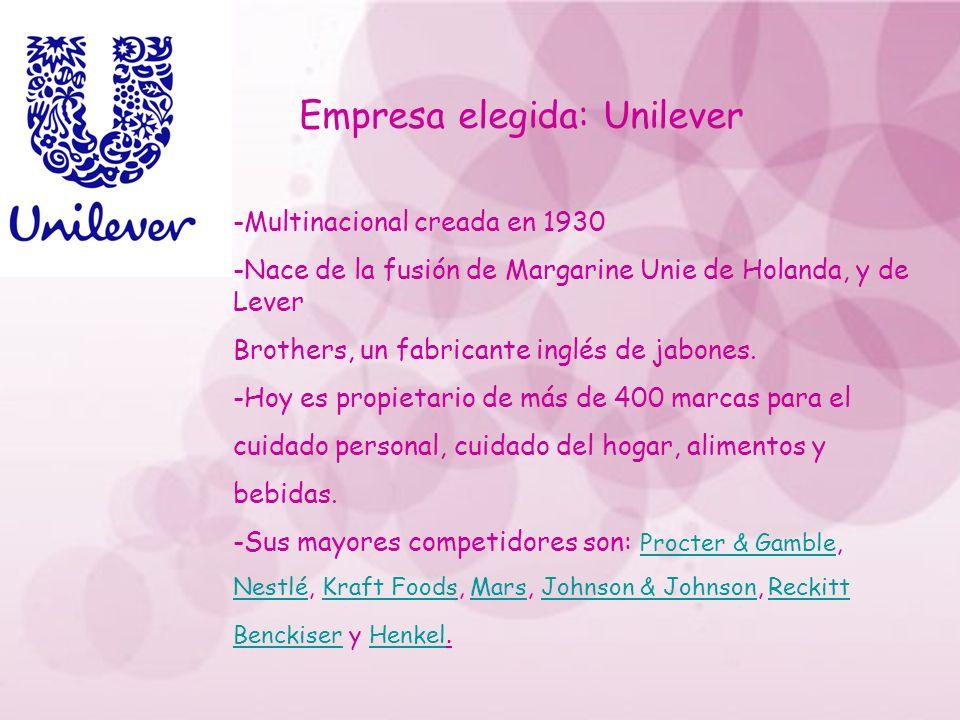 Empresa elegida: Unilever -Multinacional creada en 1930 -Nace de la fusión de Margarine Unie de Holanda, y de Lever Brothers, un fabricante inglés de