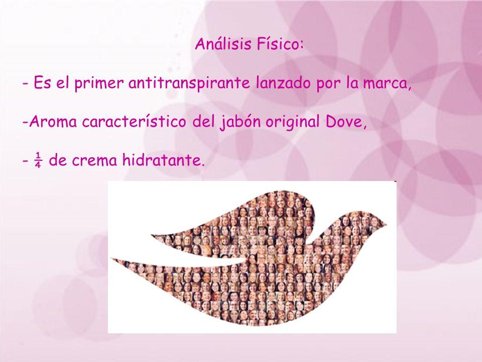 Análisis Físico: - Es el primer antitranspirante lanzado por la marca, -Aroma característico del jabón original Dove, - ¼ de crema hidratante.