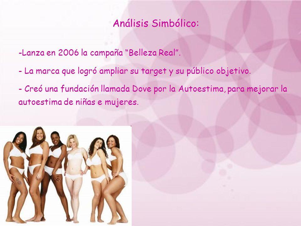 Análisis Simbólico: -Lanza en 2006 la campaña Belleza Real. - La marca que logró ampliar su target y su público objetivo. - Creó una fundación llamada