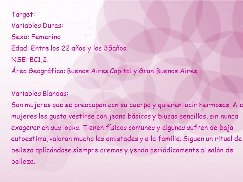 Target: Variables Duras: Sexo: Femenino Edad: Entre los 22 años y los 35años. NSE: BC1,2. Área Geográfica: Buenos Aires Capital y Gran Buenos Aires. V