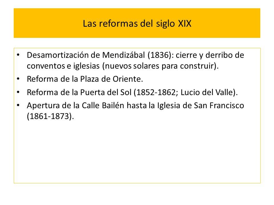 Las reformas del siglo XIX Desamortización de Mendizábal (1836): cierre y derribo de conventos e iglesias (nuevos solares para construir).