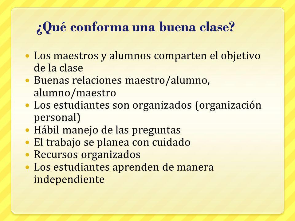 ¿Qué conforma una buena clase? Los maestros y alumnos comparten el objetivo de la clase Buenas relaciones maestro/alumno, alumno/maestro Los estudiant