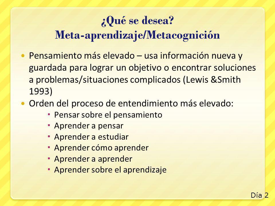 ¿Qué se desea? Meta-aprendizaje/Metacognición Pensamiento más elevado – usa información nueva y guardada para lograr un objetivo o encontrar solucione