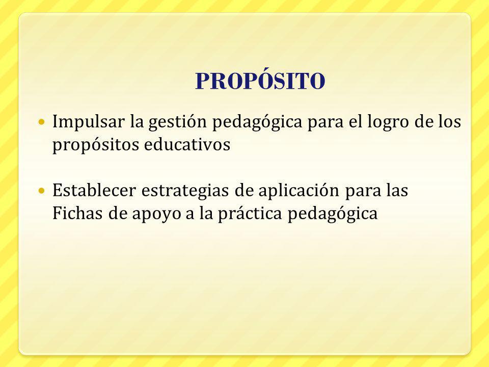 PROPÓSITO Impulsar la gestión pedagógica para el logro de los propósitos educativos Establecer estrategias de aplicación para las Fichas de apoyo a la
