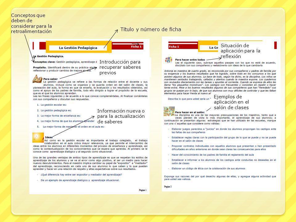 Título y número de ficha Conceptos que deben de considerar para la retroalimentación Introducción para recuperar saberes previos Información nueva o p