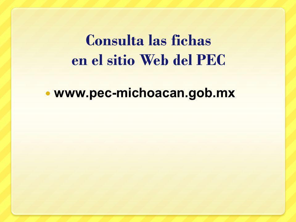 Consulta las fichas en el sitio Web del PEC www.pec-michoacan.gob.mx