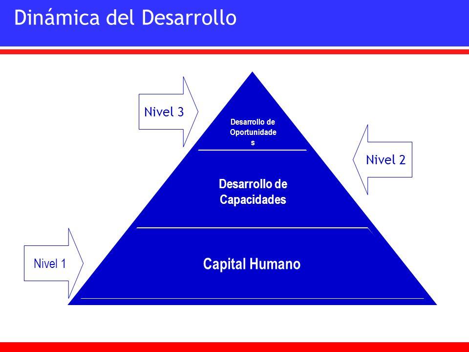 Dinámica del Desarrollo Desarrollo de Oportunidade s Desarrollo de Capacidades Capital Humano Nivel 1 Nivel 2 Nivel 3