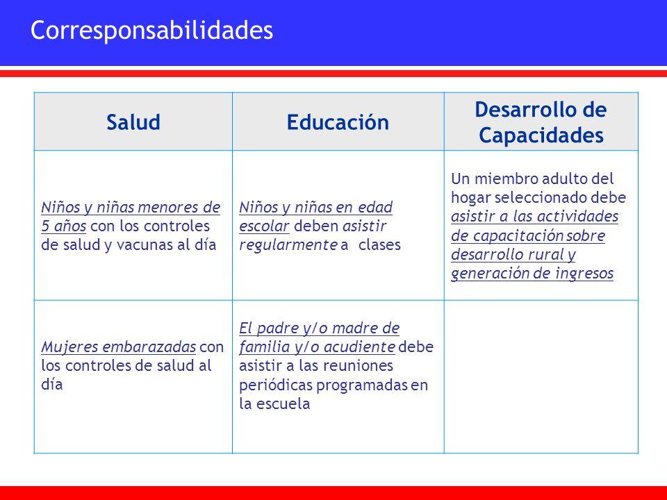 SaludEducación Desarrollo de Capacidades Niños y niñas menores de 5 años con los controles de salud y vacunas al día Niños y niñas en edad escolar deb