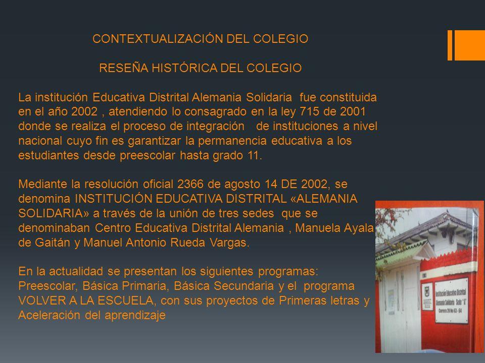 CONTEXTUALIZACIÓN DEL COLEGIO RESEÑA HISTÓRICA DEL COLEGIO La institución Educativa Distrital Alemania Solidaria fue constituida en el año 2002, atend