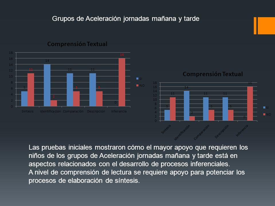 Grupos de Aceleración jornadas mañana y tarde Las pruebas iniciales mostraron cómo el mayor apoyo que requieren los niños de los grupos de Aceleración