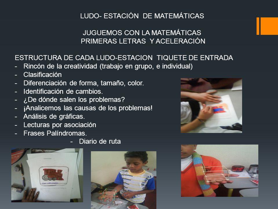 LUDO- ESTACIÓN DE MATEMÁTICAS JUGUEMOS CON LA MATEMÁTICAS PRIMERAS LETRAS Y ACELERACIÓN ESTRUCTURA DE CADA LUDO-ESTACION TIQUETE DE ENTRADA -Rincón de