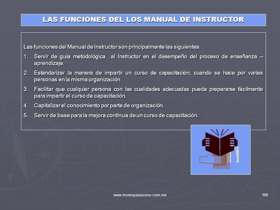 www.monroyasesores.com.mx100 LAS FUNCIONES DEL LOS MANUAL DE INSTRUCTOR Las funciones del Manual de Instructor son principalmente las siguientes: 1.Se