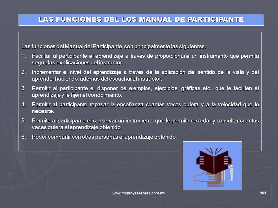 www.monroyasesores.com.mx101 Las funciones del Manual del Participante son principalmente las siguientes: 1.Facilitar al participante el aprendizaje a