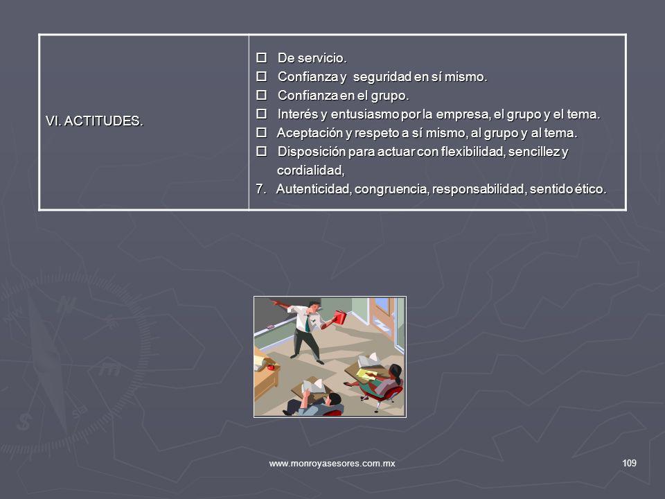 www.monroyasesores.com.mx109 VI. ACTITUDES. De servicio. De servicio. Confianza y seguridad en sí mismo. Confianza y seguridad en sí mismo. Confianza