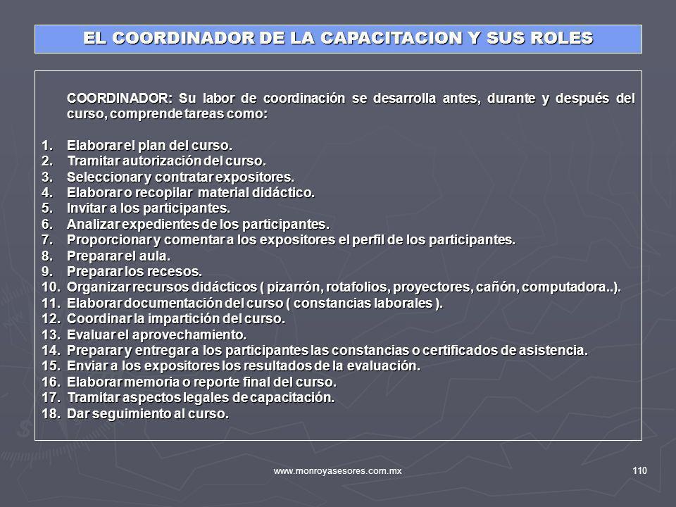 www.monroyasesores.com.mx110 COORDINADOR: Su labor de coordinación se desarrolla antes, durante y después del curso, comprende tareas como: COORDINADO