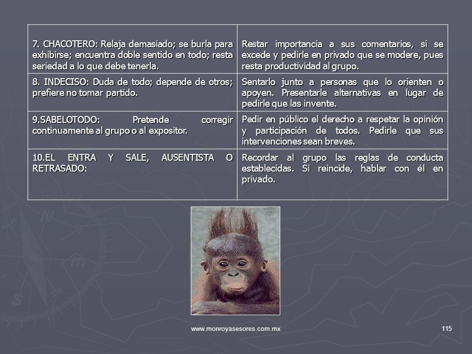 www.monroyasesores.com.mx115 7. CHACOTERO: Relaja demasiado; se burla para exhibirse; encuentra doble sentido en todo; resta seriedad a lo que debe te