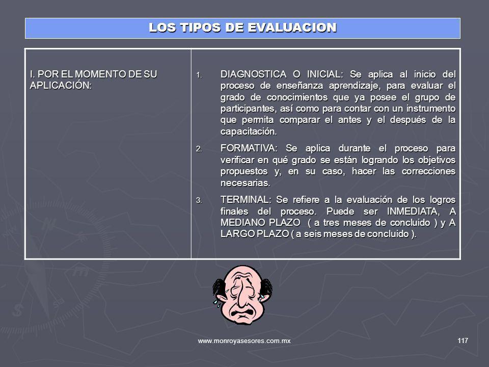 www.monroyasesores.com.mx117 LOS TIPOS DE EVALUACION I. POR EL MOMENTO DE SU APLICACIÓN: 1. DIAGNOSTICA O INICIAL: Se aplica al inicio del proceso de