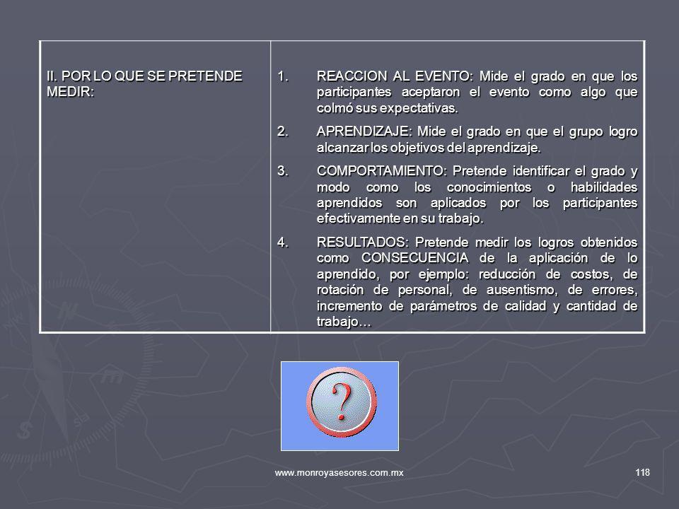 www.monroyasesores.com.mx118 II. POR LO QUE SE PRETENDE MEDIR: 1.REACCION AL EVENTO: Mide el grado en que los participantes aceptaron el evento como a