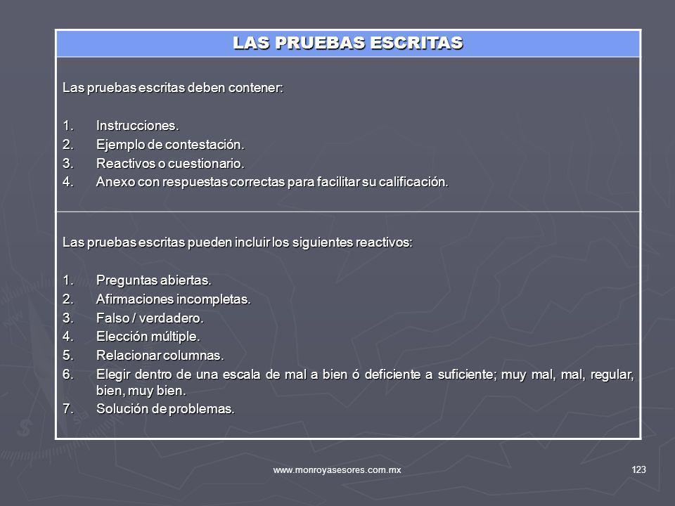www.monroyasesores.com.mx123 LAS PRUEBAS ESCRITAS Las pruebas escritas deben contener: 1.Instrucciones. 2.Ejemplo de contestación. 3.Reactivos o cuest
