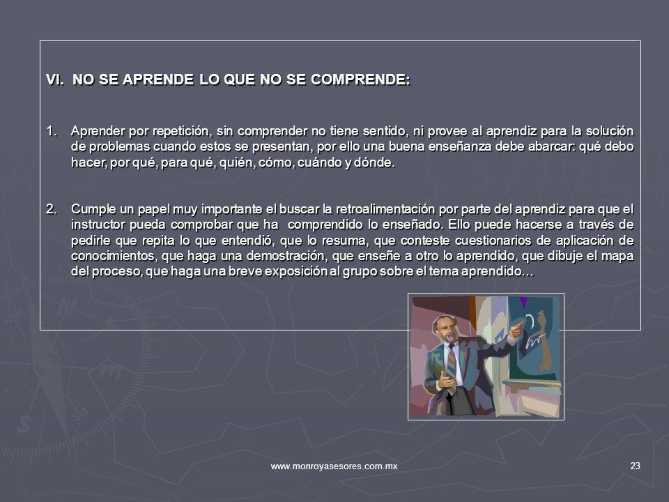 www.monroyasesores.com.mx23 VI. NO SE APRENDE LO QUE NO SE COMPRENDE: 1.Aprender por repetición, sin comprender no tiene sentido, ni provee al aprendi