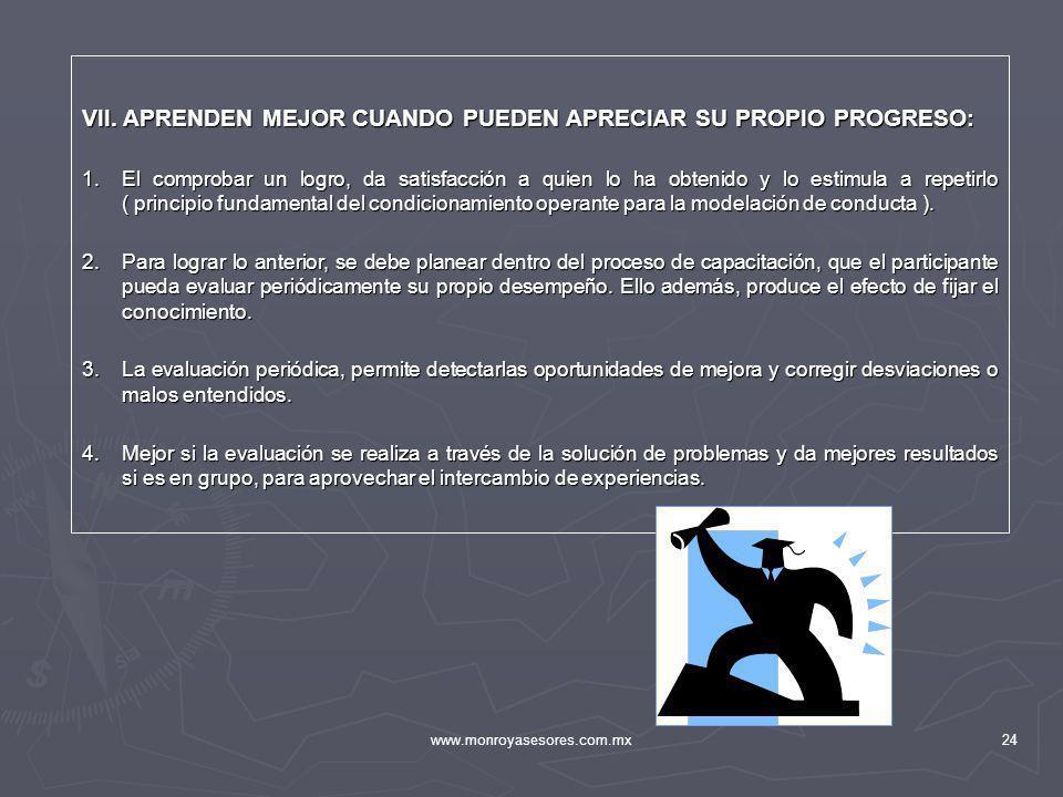 www.monroyasesores.com.mx24 VII. APRENDEN MEJOR CUANDO PUEDEN APRECIAR SU PROPIO PROGRESO: 1.El comprobar un logro, da satisfacción a quien lo ha obte