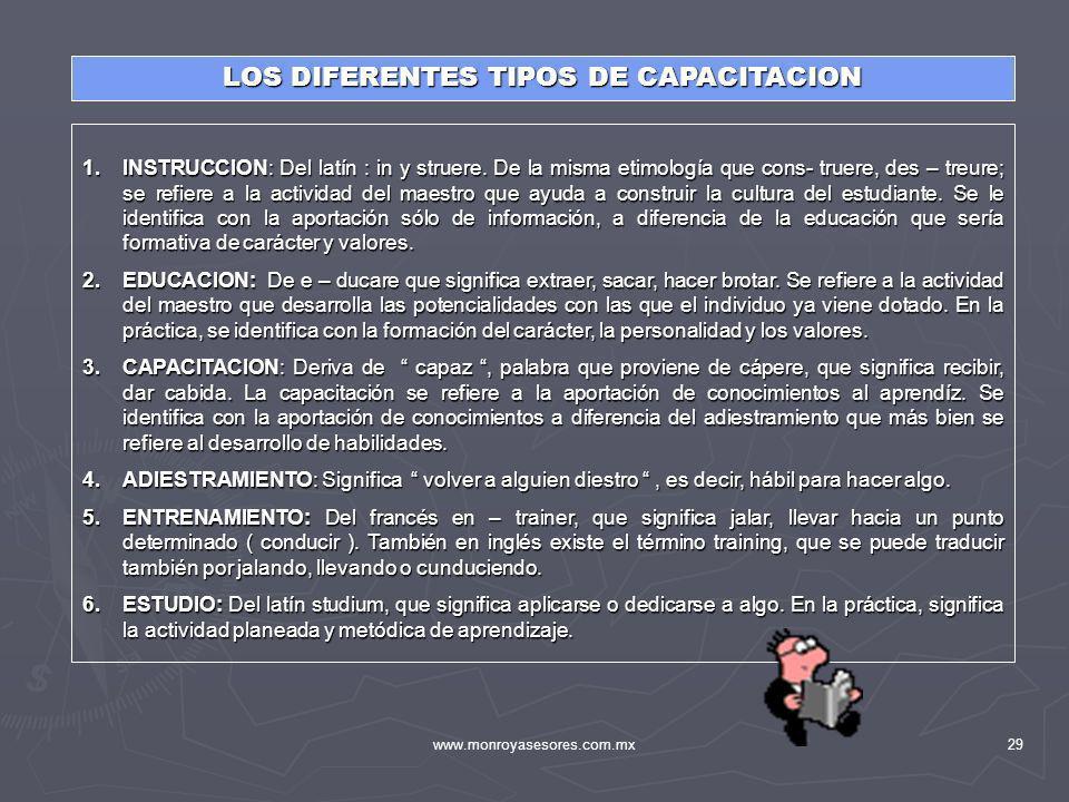 www.monroyasesores.com.mx29 LOS DIFERENTES TIPOS DE CAPACITACION 1.INSTRUCCION: Del latín : in y struere. De la misma etimología que cons- truere, des