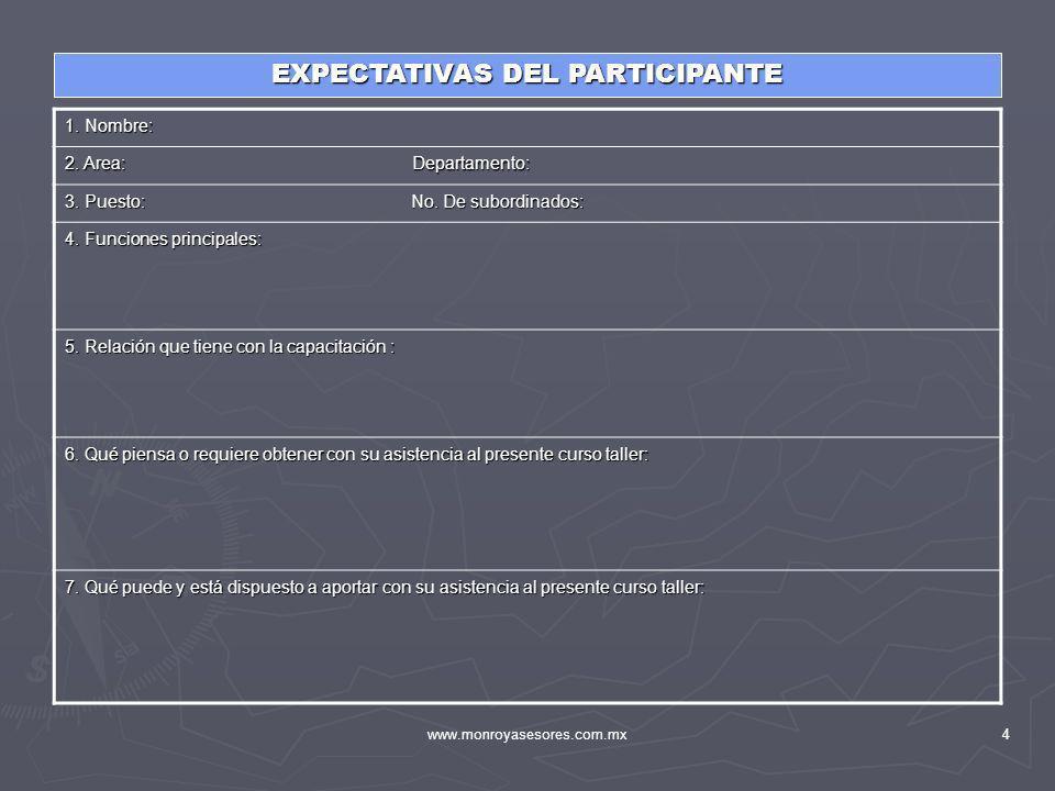 www.monroyasesores.com.mx4 EXPECTATIVAS DEL PARTICIPANTE 1. Nombre: 2. Area: Departamento: 3. Puesto: No. De subordinados: 4. Funciones principales: 5