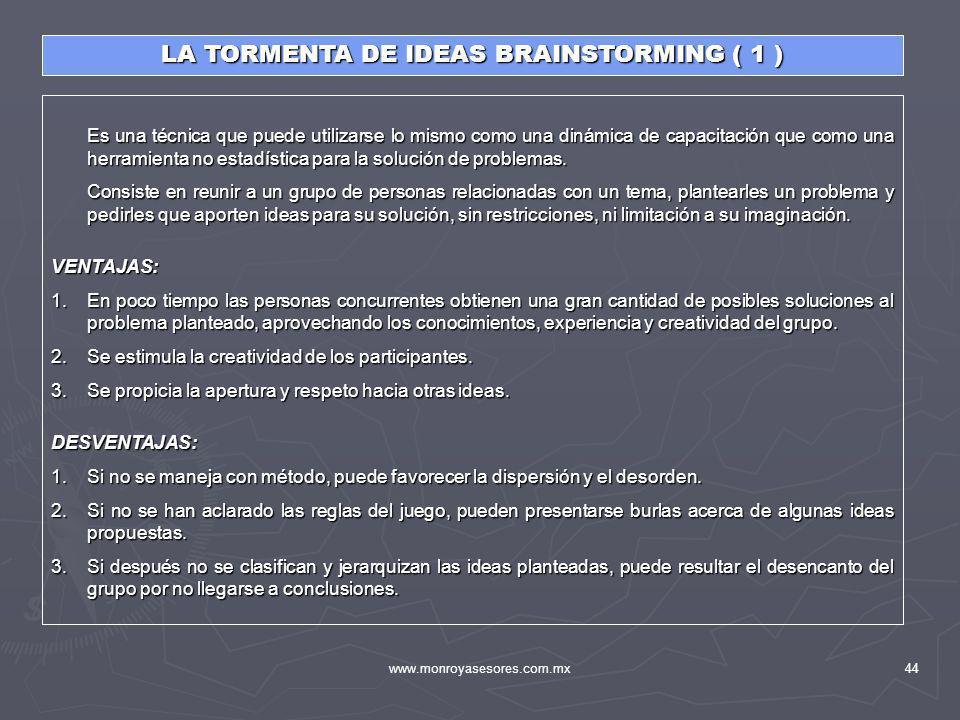 www.monroyasesores.com.mx44 LA TORMENTA DE IDEAS BRAINSTORMING ( 1 ) Es una técnica que puede utilizarse lo mismo como una dinámica de capacitación qu